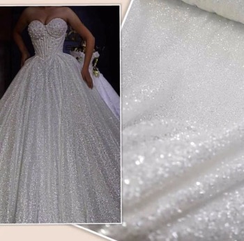 5yards shining glued print glitter ZH-81140 sparkle net tulle mesh lace for fashion dress