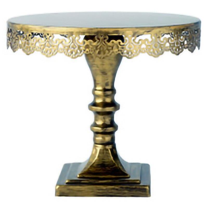 Le gâteau d'or Vintage de Sweetgo tient la décoration de mariage de présentoir de petit gâteau en métal de fer pour la vaisselle/outil de cuisson de partie