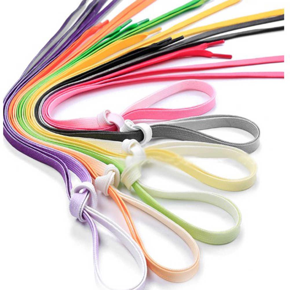 1 par de cordones de lona plana de Color arcoíris zapatillas deportivas cordones de zapatos para Mujeres Hombres botas gradiente de personalidad cordones de zapatos