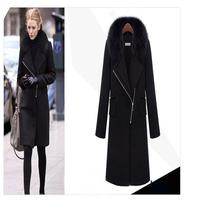Yeni Kış Moda Kadın Yünlü kumaş ceket Ceketinizin yaka Yüksek kalite Sıcak Orta uzun Coat