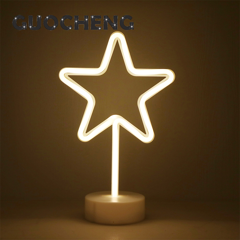 Creative LED Pentagram Star Neon Night Light For Kids Childrens Rooms Table Lamp Battery Power Night Lamp Party Decoration Light