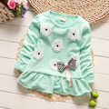 Baby Clothes 2016 Spring and Autumn Long Sleeve Cotton Lambswool T-shirt Baby Girl Sweatshirts for Girl Pullover Flower Dress