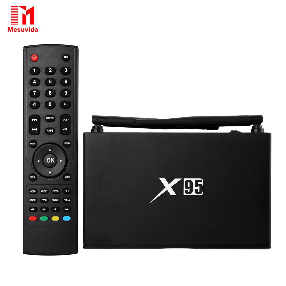 Mesuvida X95 Smart Android TV Box Amlogic S905 Quad Core 2.4GHz WiFi 4K*2K Set Top Box Bluetooth 4.0 1GB 8GB Media Player  mesuvida k6 tv box amlogic s812 android 5 1 1 quad core 2 4ghz 5ghz wifi bluetooth 4 0 2gb ram 8gb rom set top box media player