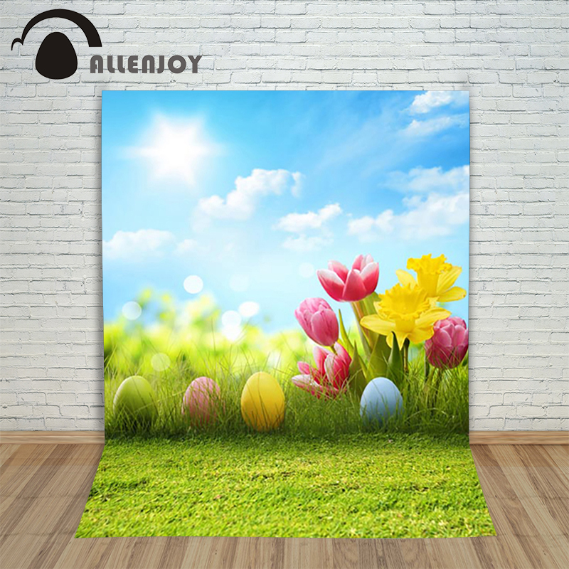 Allenjoy Easter backdrop Happpy Easter eggs Tulips pink flowers grass sky sunny cute children Photophone background photograph