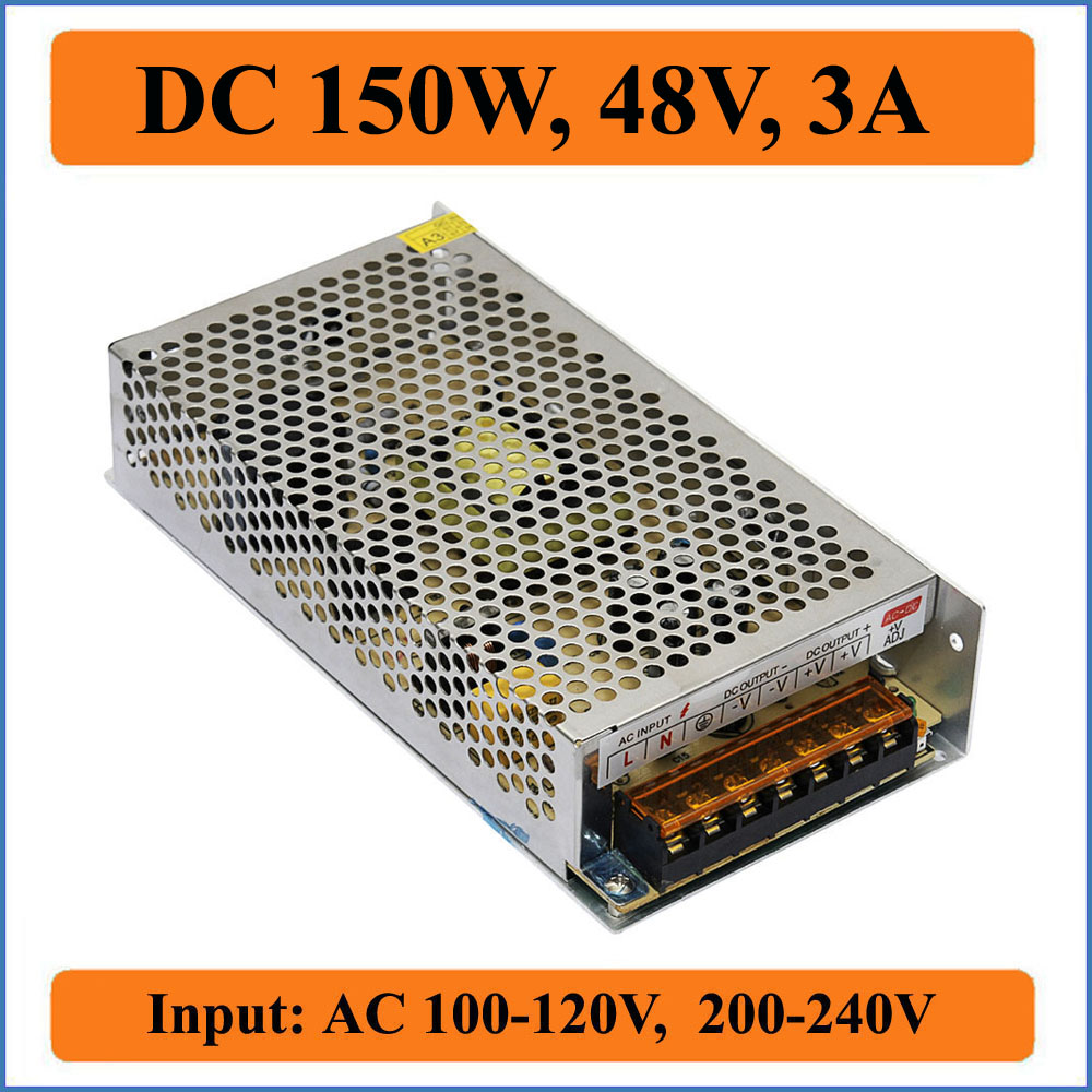 150W 48V 3A Switching Power Supply AC110V/220V input transformer to DC 48V output power adapters for LED Strip light Driver dc power supply 48v 200w switching power supply driver ac110v ac220v to dc 48v for led strip light display