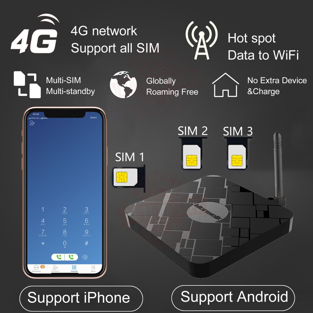 4G WiFi Hotspot Router 3SIM Extend Box & No Roaming Abroad For Android For IPhone All IOS 7-12 Engish APP