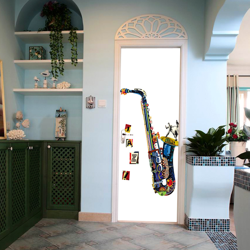 Creative DIY 3D Door Wallpaper Door Stickers Saxphone Pattern for Room Wall Decoration Home Decor Accessories Large Wall Sticker high quality diy romantic flowers pattern wall stickers for home decor