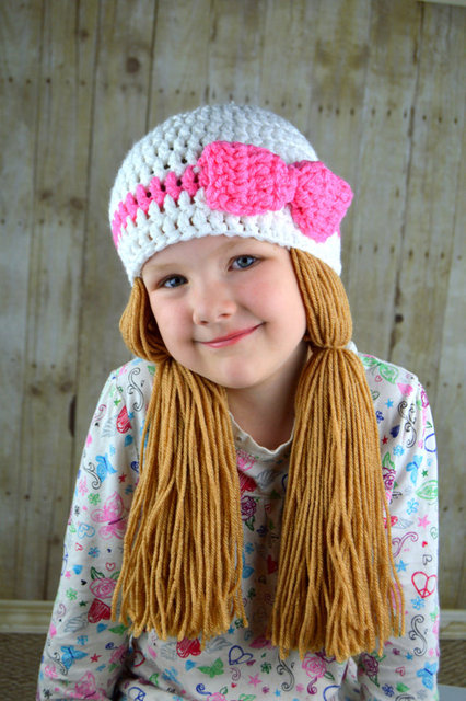 2016 New Handmade Crochet Baby Girls Wigs Hatwhite And Pink Pigtail