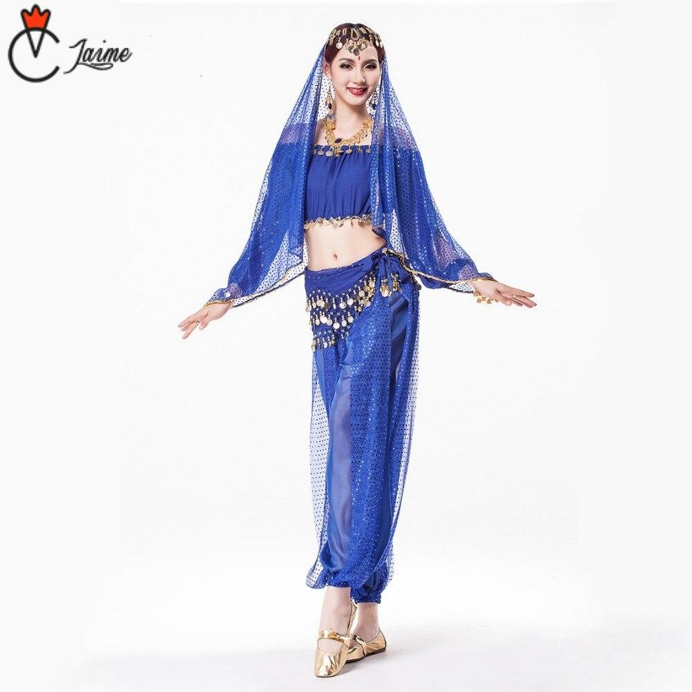 7 couleurs disponibles Indien costume Sari vêtements indiens Sequin Mousseline de Soie Indien Pantalon pour Femmes bollyhood 8 pièces inclus