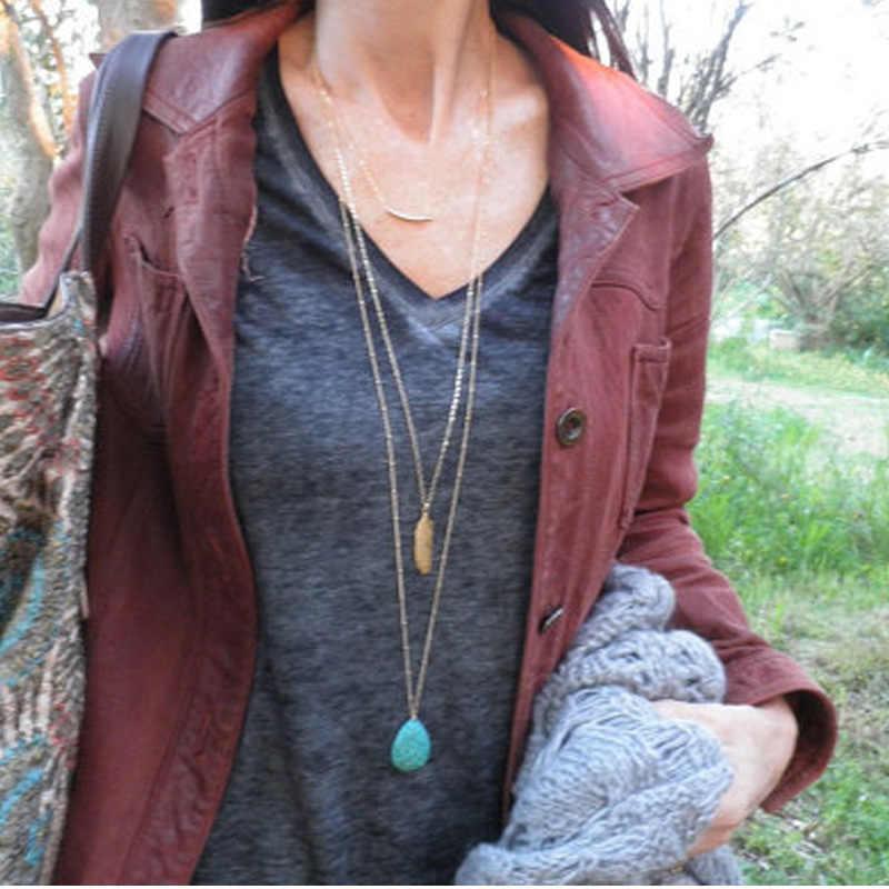 Женское Ожерелье многослойное массивное ожерелье подвески синий камень цепочка