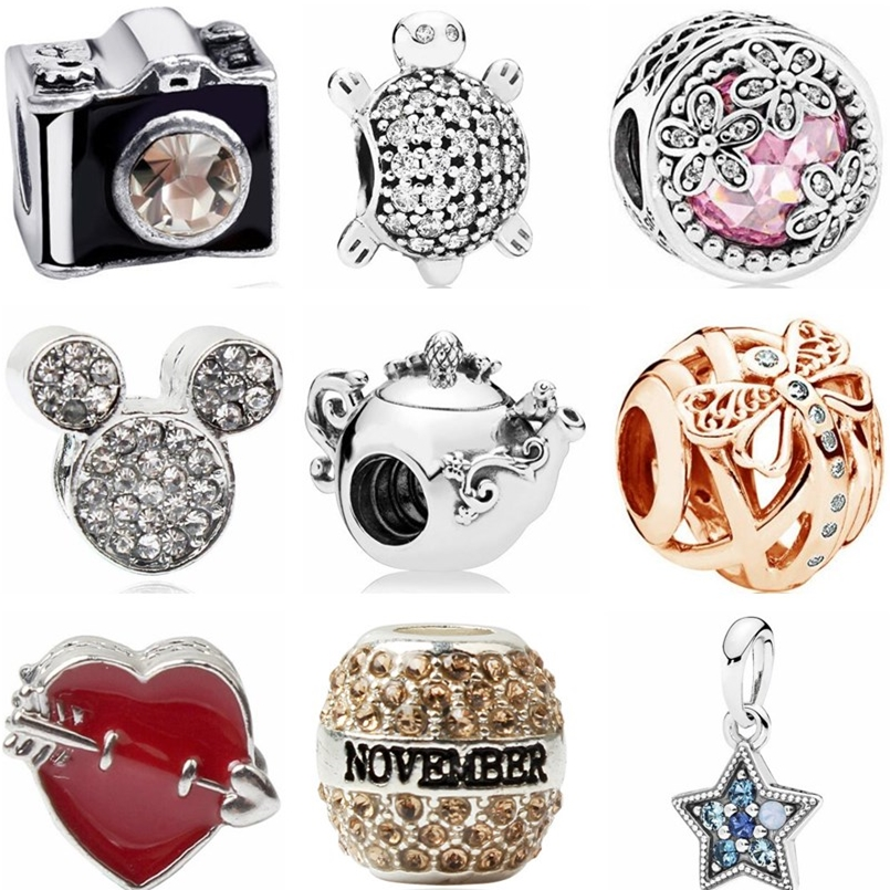 Btuamb High Quality Micky Star Teapot Tortoise House Bow Bell Camera Beads Charms Fit Pandora Bracelets for Women DIY Jewelry