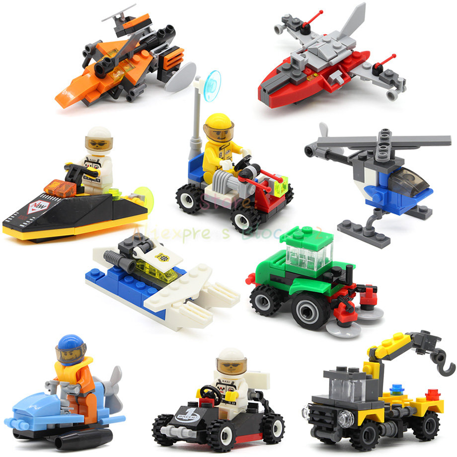 Mini Vehicles Single City Police Helicopters Car Plane Military Building Block Sets Models SWAT Children Toys For Kids Legoing