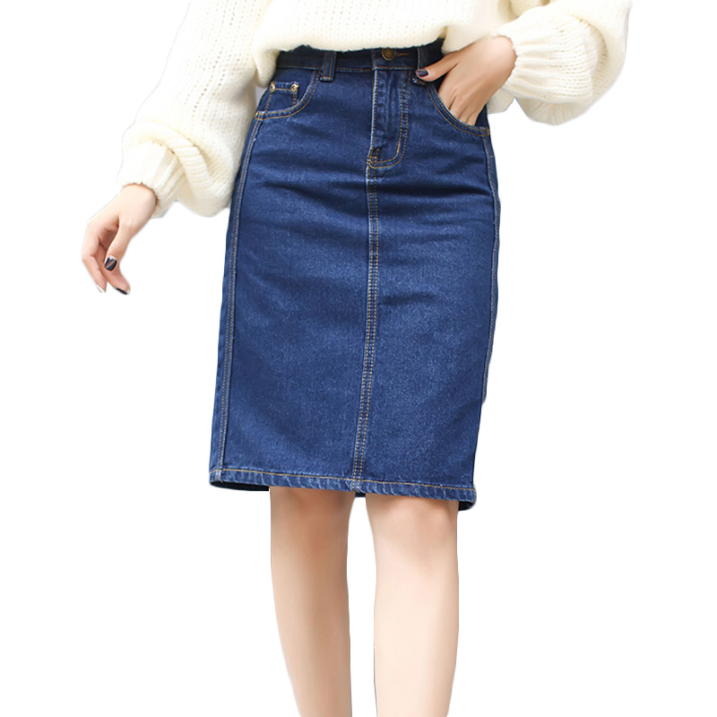 vintage new design knee length plus size denim skirts for
