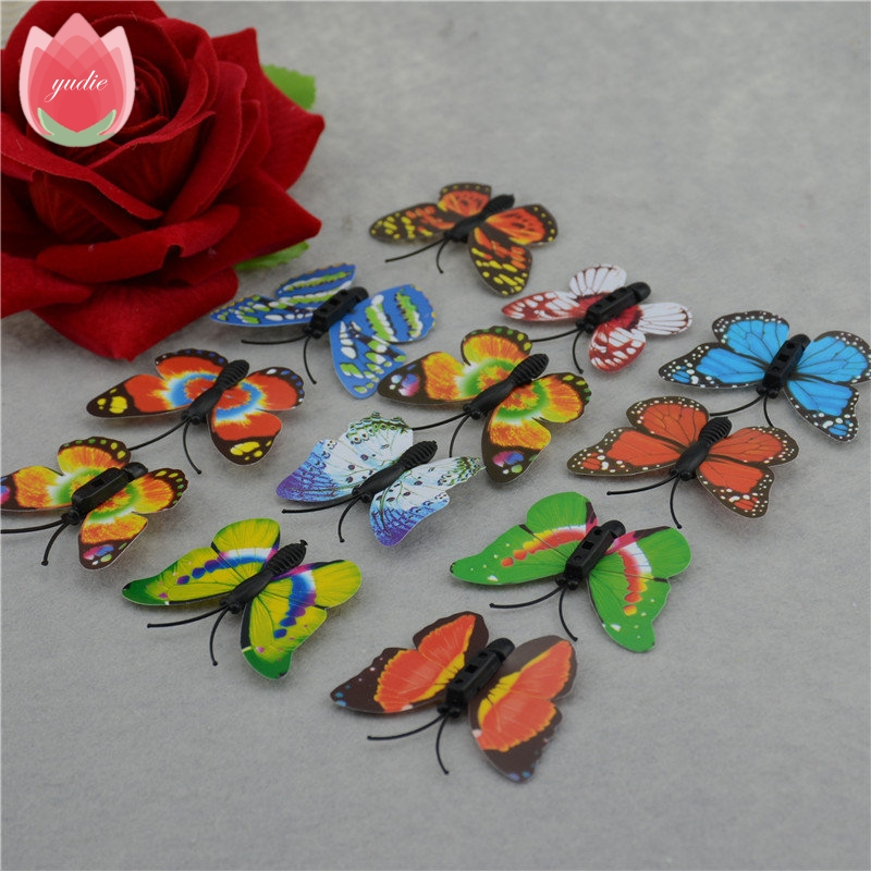 2016Wholesale 100 / lot Imitation Butterfly 4 cm PVC home decor wall stickers decals home crafts Butterfly