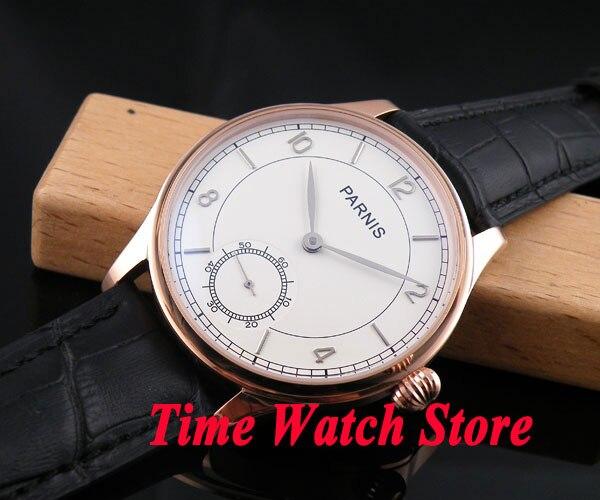 Parnis 44mm white dial silver hands pumpkin crown golden case 6498 hand winding movement Men's watch 237