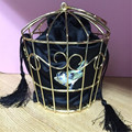 New Personality Birdcage Evening Bag Clutch Metal Frame Embroidery Bucket Bird Cage Mini Bag Tyrant Purse Gold tassel Handbag