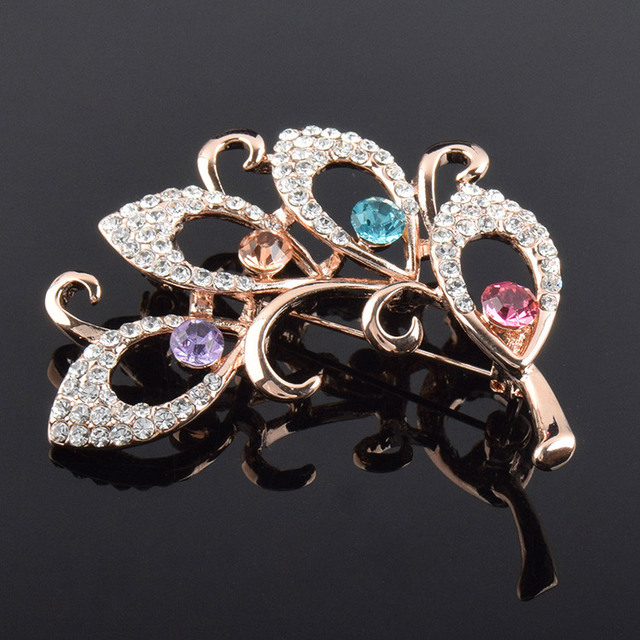 Colors crystals Flower Brooches Women
