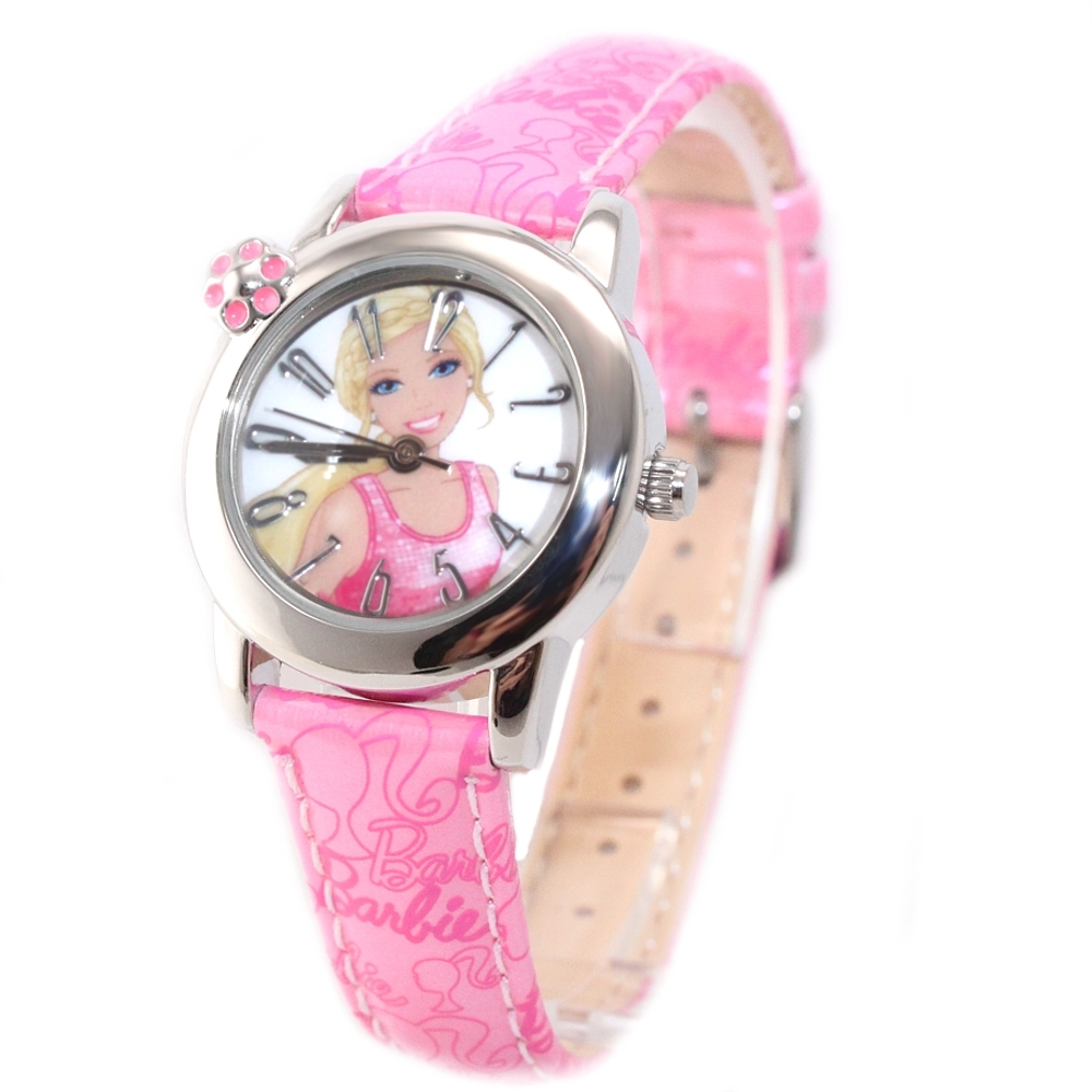 Lovely New Pink Leather Band Round PNP Shiny Silver Watchcase Children Kids Fashion Watch KW041L