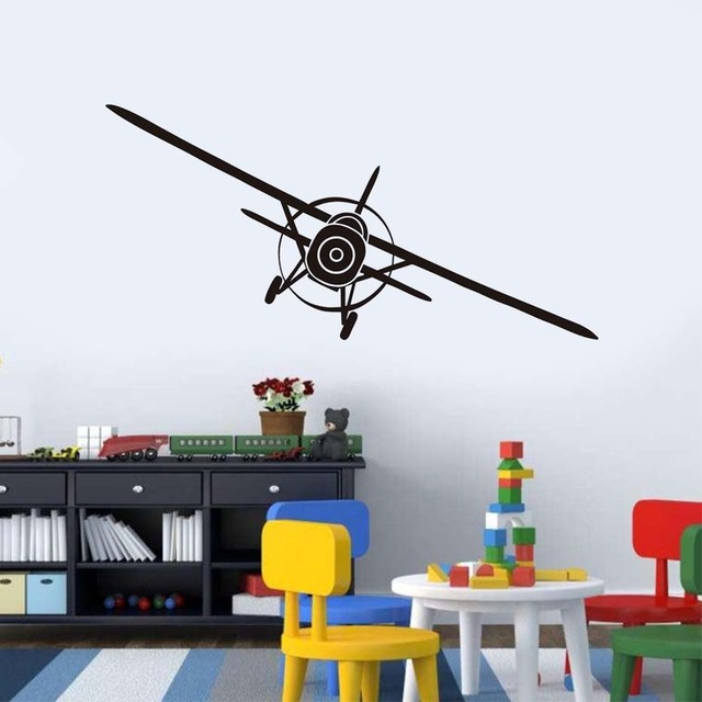 Personalized Airplane Wall Decal Removable Pvc Wall Sticker For Kids ...