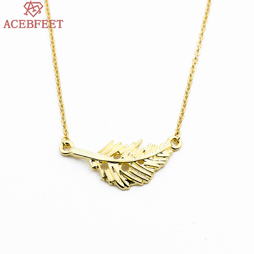 ACEBFEET Gold Silver Feather Collier Ethnic Fashion Women Jewelry Copper Metal Pendant Necklaces For Birthday Gift 2018