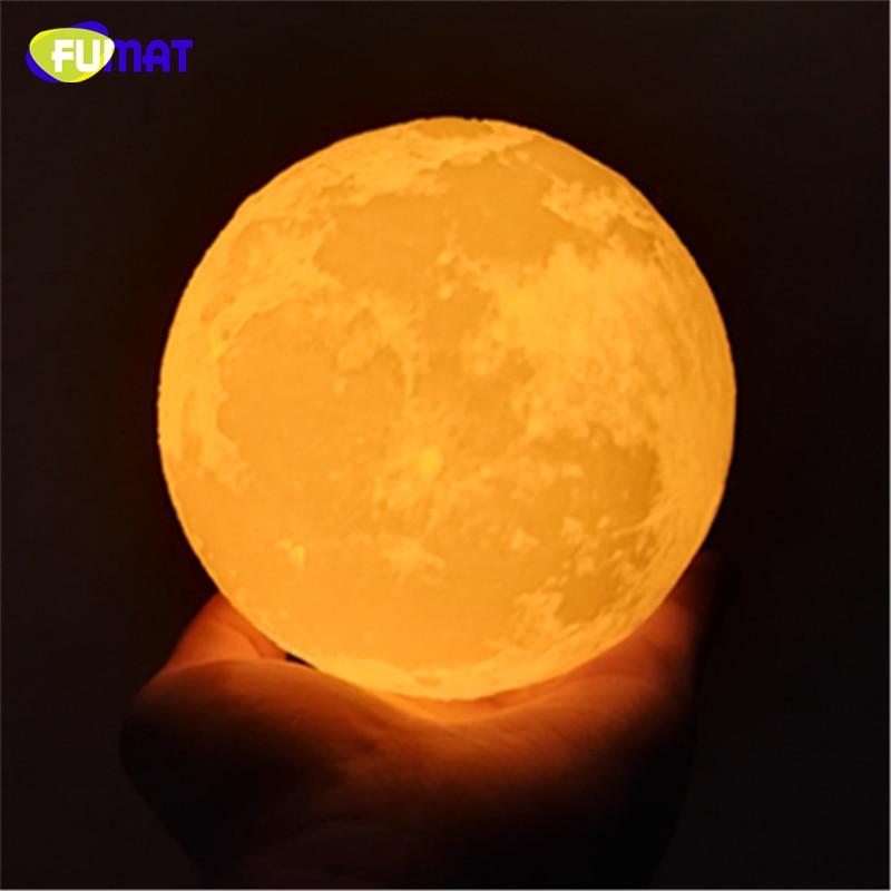 FUMAT 3D Baskı Ay Lambası Dokunmatik Algılama Anahtarı ile 3D Ay - Gece Lambası - Fotoğraf 5