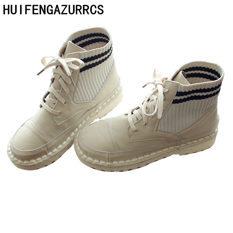 HUIFENGAZURRCS-Pure Handmade women's shoes,Genuine leather shoes laces boots,The retro art mori girl shoes,Casual retro boots
