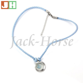 Stainless steel waterproof living floating locket necklace with sky blue cord