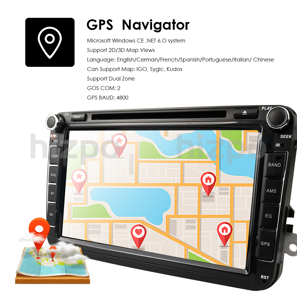 Top 2Din 8Inch Car DVD Player For VW POLO PASSAT Golf Skoda Octavia SEAT LEON DAB SWC Radio GPS Navigation 1080P FM Free Camera Maps 3