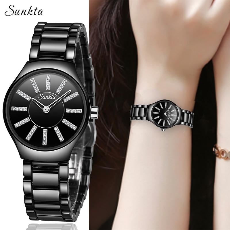 SUNKTA2019 New Starry Diamond Watches Women Luxury Brand Watch Fashion Casual Waterproof Watch Ceramic Women Watch Zegarek Damsk|Women's Watches| |  - title=