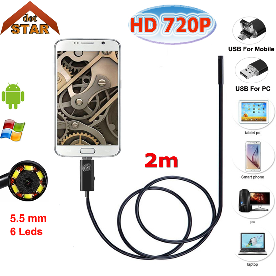 Stardot 5.5mm Lens 2IN1 USB Endoscope Camera 2M Snake Tube Pipe Waterproof USB Endoskop Car Inspection Borescope Mini Camera 7mm lens 2m 5m usb endoscope camera snake tube pipe waterproof usb endoskop car inspection borescope endoscope camera android