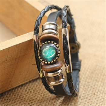 Fashion Punk Men Jewelry 12 Horoscope Leather Bracelet Retro Wooden Bead Charm Bracelet Female Male Jewelry Gifts Wholesale 5