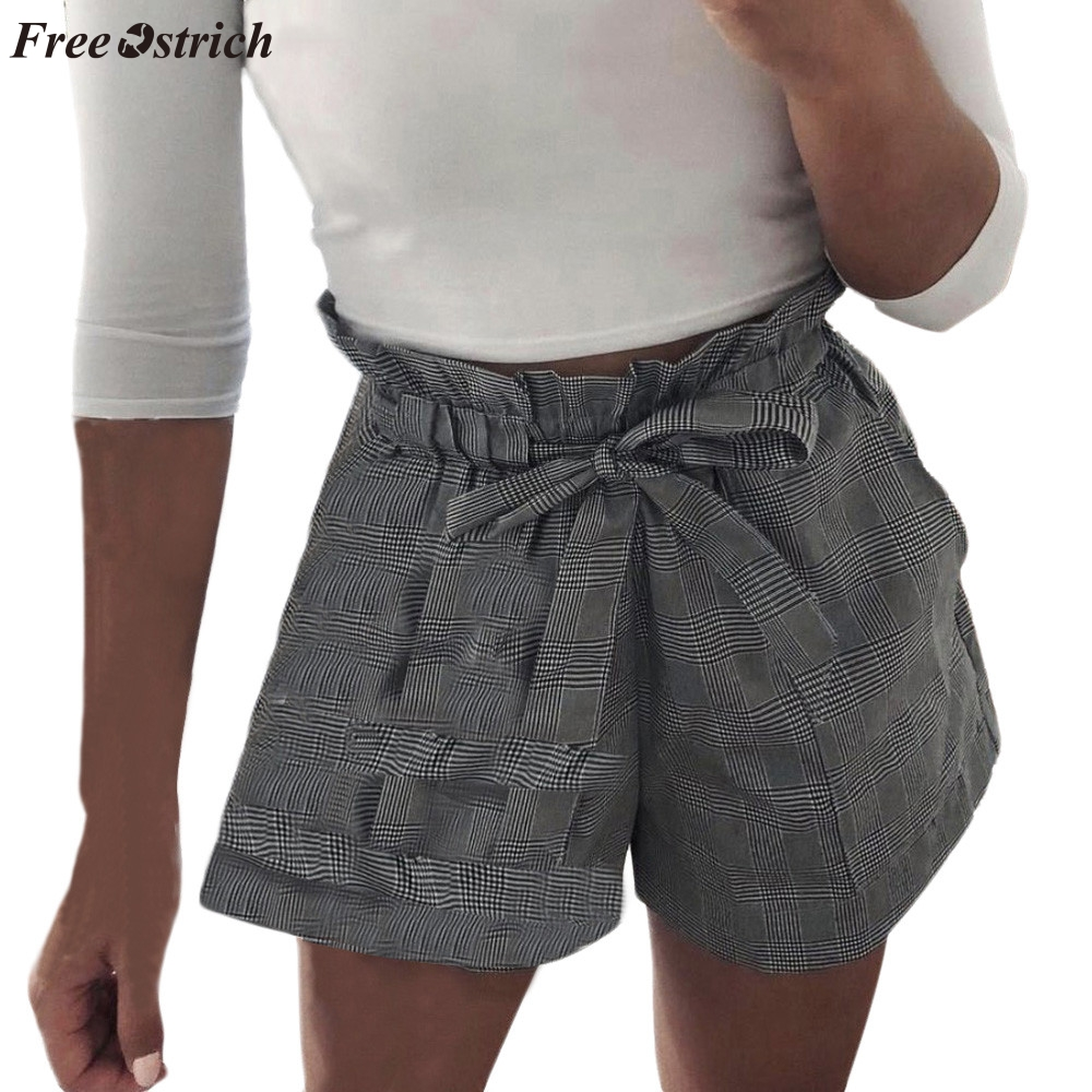 FREE OSTRICH Women's Plaid Pocket High Waist Bandage Quick Dry High Elasticity High Quality Wearable Comfortable Casual   Shorts