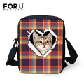 FORUDESIGNS Luxury Women Messenger Bag Cute Pet Cat Prints Kindergarten Kids Crossbody Bag Baby Girls Small Shoulder Bag Mochila