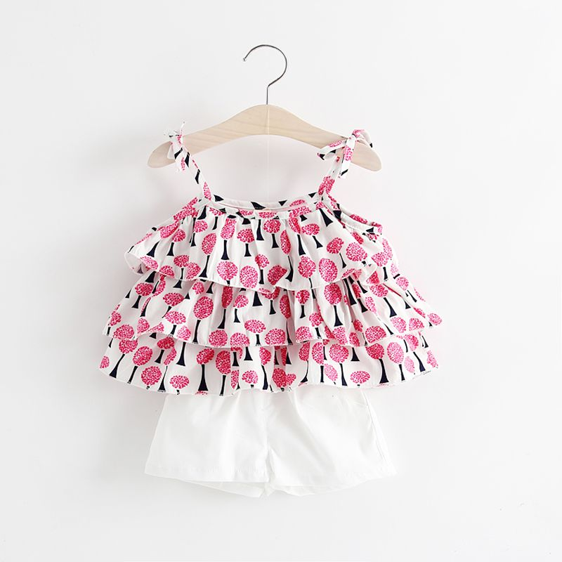 New Summer Strawberry Pineapple Print Straps Childrens Suits Four Kinds Clothes For Girls Dress S8