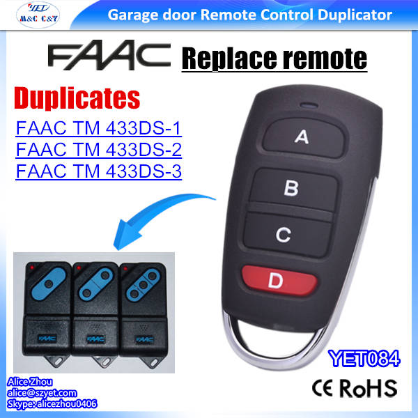 US $199 9 |FAAC TM 433DS 1 / FAAC TM 433DS 2 / TM 433DS 3 compatible remote  control, clone-in Remote Controls from Consumer Electronics on
