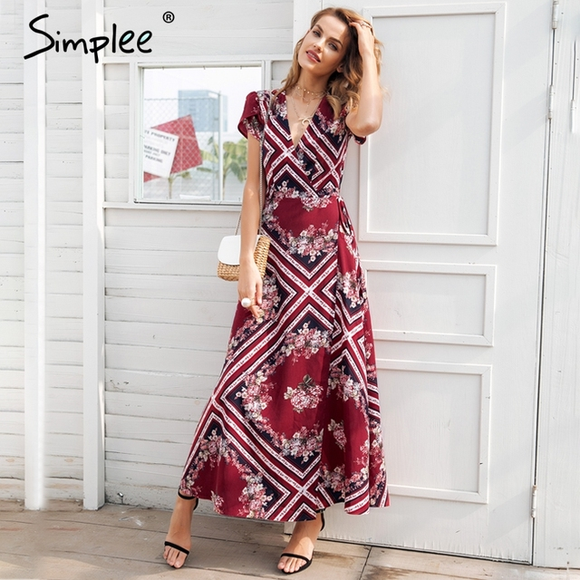 b809b71ed78c0 Simplee Boho print v neck wrap summer dress Elegant high waist long women  vestidos Short sleeve