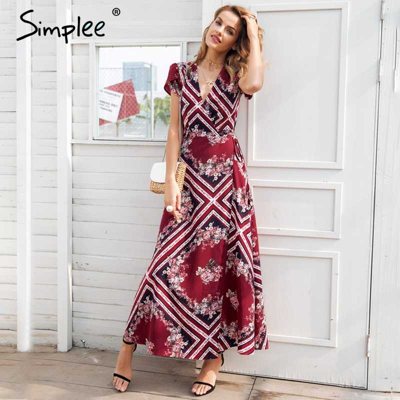 97be347eda Simplee Boho print v neck wrap summer dress Elegant high waist long women  vestidos Short sleeve