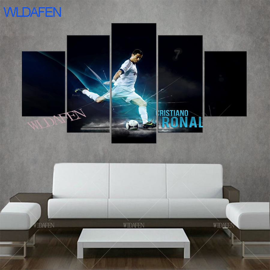 5 panel c ronaldo real is madrid canvas printed painting for living picture wall art hd decor modern artworks football poster