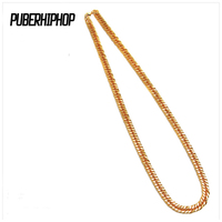 JFY Mens Fashion Necklace High Quality Gold Plated 75cm Long Cuban Link Chain Statement Necklace Young