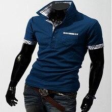 Men's Fashion Plaid Color Block Decoration Polo Shirts Male Slim Short-sleeve  Clothing Men's Turn-down Collar Tee