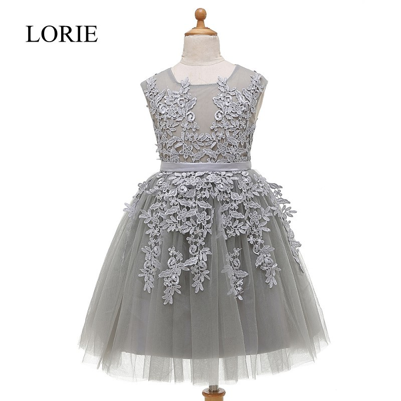 Grey Tulle   Flower     Girl     Dresses   For Weddings 2016 Vintage Lace Cupcake   Dress   Baby Pageant   Dresses   For Little   Girls