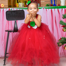 Red Girls Christmas Party Dress Costumes Baby Kids Girls Flowers Tulle Tutu Dress For New Year