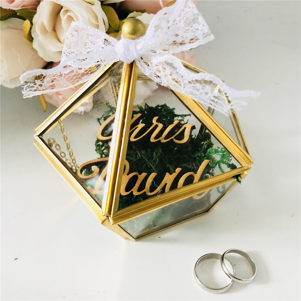 Personalized Name Wedding Glass Ring Box Custom Bride And Groom Name Glass Jewelry Holder Box Pentagon Geometric Gift Holders