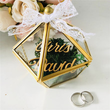 Персонализированные Имя свадебное стекло кольцо коробка на заказ невеста и жених имя стекло держатель ювелирных изделий Пентагон геометрические держатели для подарков