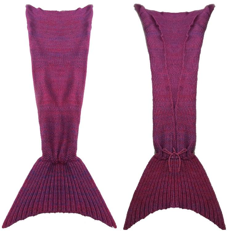 ФОТО Wool Blended 180*80cm Knitted Mermaid Tail Blanket Children Adult Baby Mermaid Blanket Throw Bed Children Swaddle Sleeping Bag