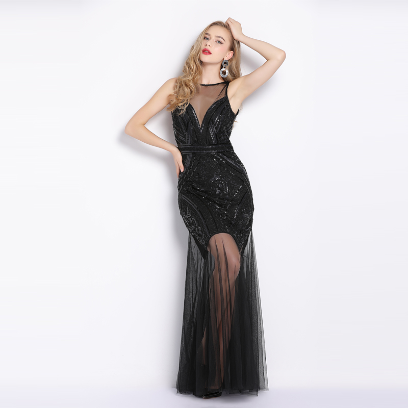 6060a0ef3f845 US $34.56 39% OFF|Sexy evening gown dress Mermaid dancing party dress Long  Evening Dresses Charming Illusion Prom Dress vestido de noiva-in Evening ...