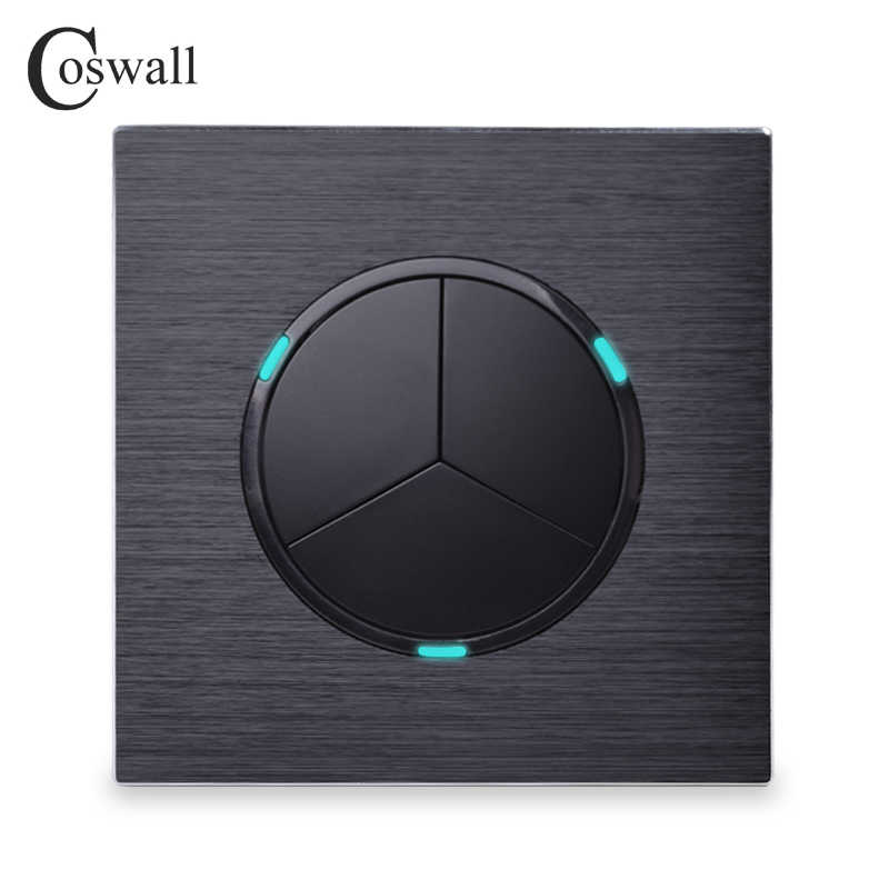 Coswall Luxurious 3 Gang 1 Way Random Click On / Off Wall Light Switch With LED Indicator Black Aluminum Metal Panel