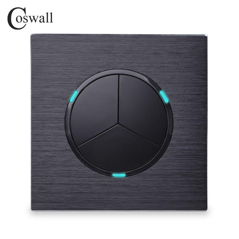 Coswall Luxuriöse 3 Gang 1 Weg Gelegentliche Klicken Taster Wand Licht Schalter Mit Led-anzeige Schwarz Aluminium Metall Panel