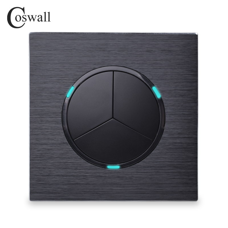 Coswall Luxurious 3 Gang 1 Way Random Click Push Button Wall Light Switch With LED Indicator Black Aluminum Metal Panel wholesale luxurious wall light switch random click push button with led indicator 1 gang 1 way ac 110 250v stainless steel panel