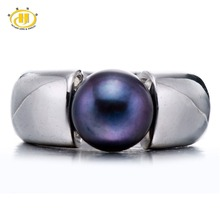 Hutang Pearl Jewelry Black Natural Freshwater Pearl Solid 925 Sterling Silver Ring For Women Fine Fashion Jewelry Brand New